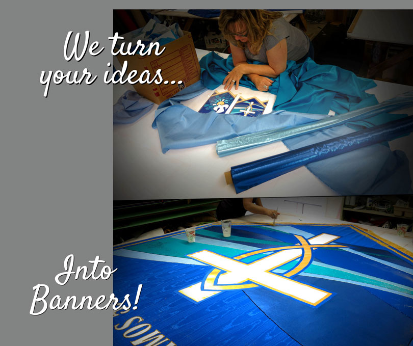 Example of Custom Church Banner that came from a computer generated design, we translated the idea into a fabric church banner